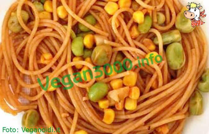 Foto numero 1 della ricetta Spaghetti integrali con soia edamame, mais e fave